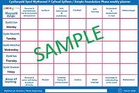 Areas of Learning and Development simple weekly planner (Foundation Phase - Wales)