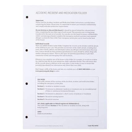 Accident Incident And Medication Inserts Pacey