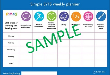 Areas of Learning and Development simple weekly planner (EYFS - England)