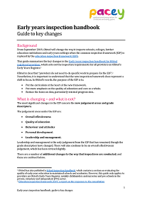 Early years inspection handbook - guide to key changes