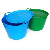 Large storage buckets with lids