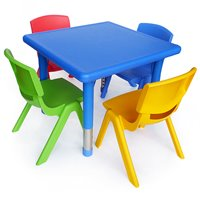 Square plastic table & chairs set 3-4yrs